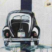 Vw käfer, Schwarz, Auto, Malerei