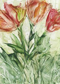 Malkarten, Wachsmalerei, Blumen, Natur
