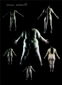 Rücken, Model, Malvorlage, Frau