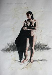Atelier, Frau, Zeichenmodel, Akt