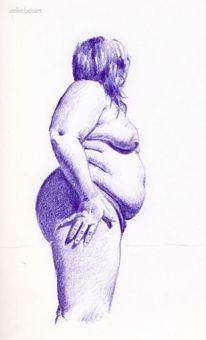 Plus size, Akt, Bauch, Frau