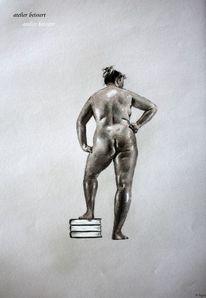 Frau, Rücken, Mollig, Bücher