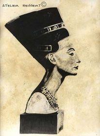 Zeichnung, Büste, Nofretete, Nefertiti