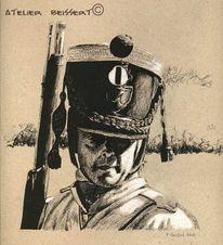 Hussard, Zeichnung, Poudre noire, Éme