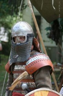 Waffe, Brillenhelm, Reenactment, Wiking
