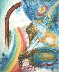 Bunt, Zauber, Taube, Regenbogen