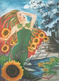 Grünes kleid, Sonne, Frau, Traum