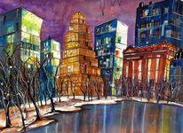 Centralpark, Acrylmalerei, New york, Aquarellmalerei