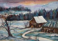 Aquarell winter, Landschaftsmalerei, Winteraquarell, Winterlandschaft