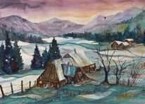 Winter, Bauernhof, Winteraquarell, Aquarell winter