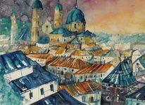 Stadtaquarell, Aquarellmalerei, Salzburg, Malerei