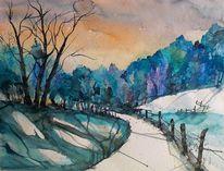 Winterlandschaft, Baum, Winteraquarell, Aquarell winter