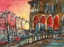Aquarellmalerei, Pescheria, Venedig, Stadtaquarell