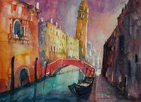 Aquarellmalerei, Venedig, Wärme, Malerei