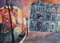 Venedig, Aquarellmalerei, Vendigaquarell, Stadtaquarell