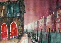 Stadtaquarell, Venedig, Traghetto, Aquarellmalerei