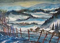 Aquarell winter, Winterlandschaft, Baum, Winteraquarell