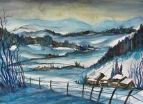 Winteraquarell, Landschaftsmalerei, Winter, Stille