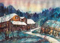 Winteraquarell, Häuser, Bauernhaus, Schneelandschaft