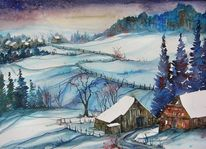 Winterlandschaft, Häuser, Winter, Aquarellmalerei