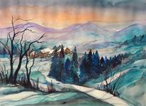 Aquarell winter, Winteraquarell, Stille, Schneelandschaft