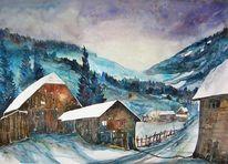Aquarellmalerei, Landschaftsmalerei, Aquarell winter, Häuser