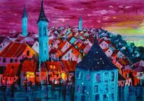 Stadt, Acrylmalerei, Felsenburg, Aargauerstalden