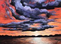 Wolken, Hügel, Sonnenuntergang, Landschaft