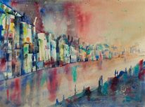 Stadtaquarell, Farben, Stimmung, Wasser