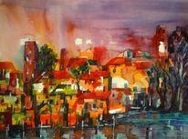 Baum, Aquarellmalerei, Fantasie, Häuser