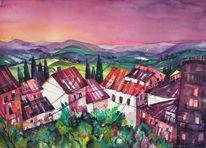 Toskana, Aquarellmalerei, Himmel, Castellione