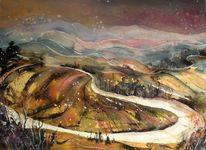 Wärme, Toskanaaquarell, Aquarellmalerei, Landschaftsmalerei