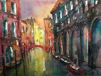 Aquarellmalerei, Licht, Stadtaquarell, Venedigaquarell
