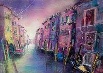 Stimmung, Venedig, Acrylmalerei, Collage