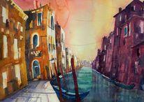 Aquarell venedig, Aquarellmalerei, Acquarello venezia, Gebäude