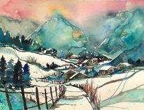Schneelandschaft, Tanne, Aquarellmalerei, Winter