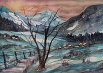 Winteraquarell, Aquarell winter, Schneelandschaft, Winterlandschaft