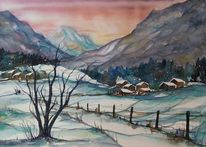 Berge, Aquarell winter, Winteraquarell, Winterlandschaft