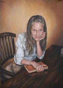 Gemälde, Stuhl, Portrait, Klug