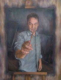 Portrait, Gesicht, Schaffenprozes, Ölmalerei