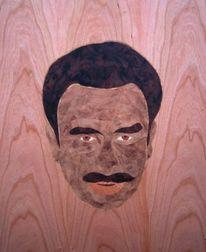 Gesicht, Nussbaum, Holz, Haare