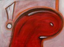 Wurm, Kopf, Ärger, Acrylmalerei