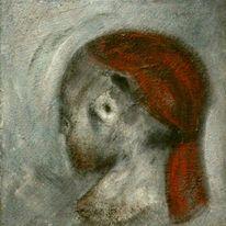 Weiß, Mischtechnik, Acrylmalerei, Grau