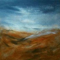 Abstrakt, Weiß, Landschaft, Acrylmalerei