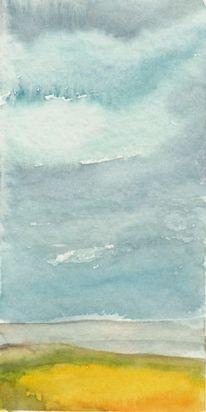 Himmel, Aquarellmalerei, Raps, Aquarell
