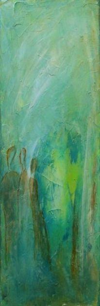 Weiß, Terrakotta, Grün, Figur