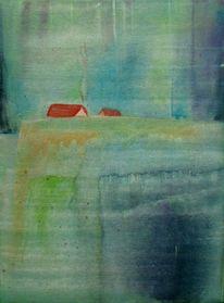 Aquarellmalerei, Landschaft, Haus, Aquarell