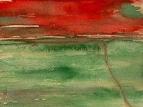 Aquarellmalerei, Rot, Abstrakt, Landschaft