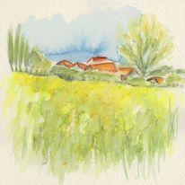 Feld, Baum, Aquarellmalerei, Häuser