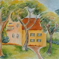 Häuser, Baum, Aquarellmalerei, Aquarell